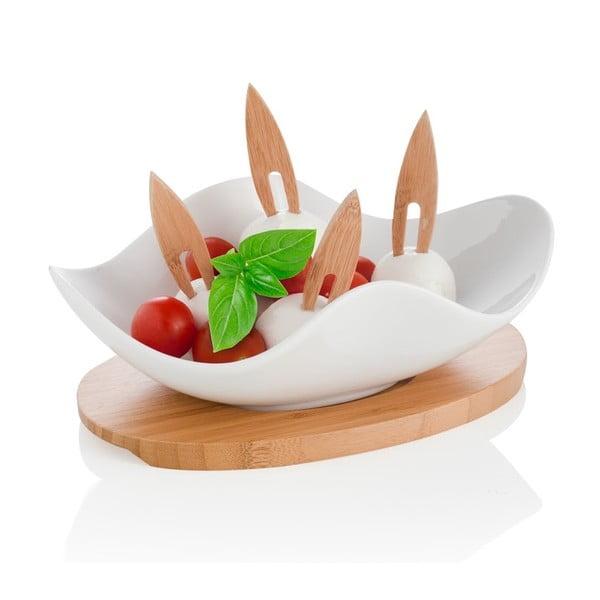 Miska do serwowania na drewnianej podkładce i 4 wykałaczkami Brandani Nuvola