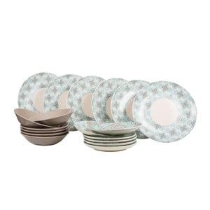 Komplet 18 talerzy ceramicznych Madeleine Blue