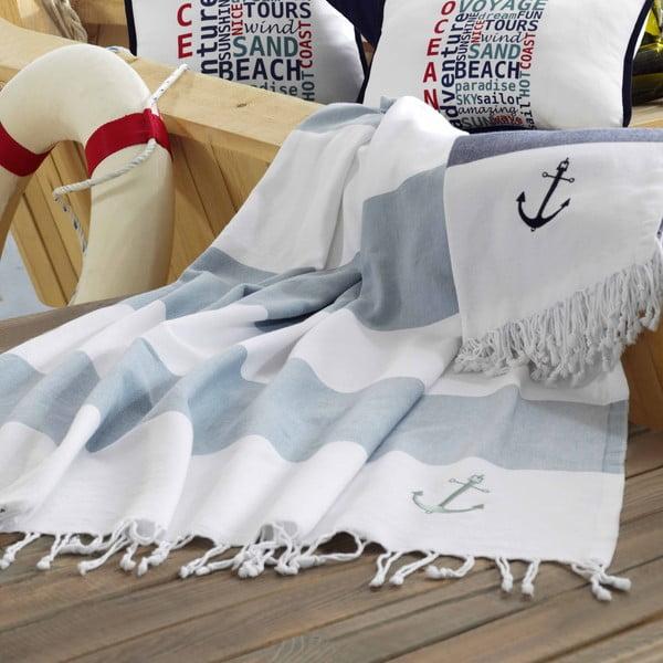 Ręcznik plażowy Marine Organic White Blue, 100x170 cm