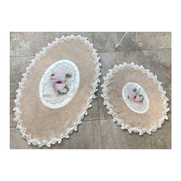 Komplet 2 dywaników łazienkowych Alessii Inci Oval Cappuccino