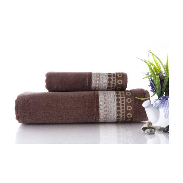 Zestaw 2 ręczników Golf Brown, 70x140 i 50x90 cm