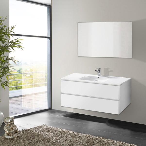 Szafka do łazienki z umywalką i lustrem Flopy, odcień bieli, 100 cm