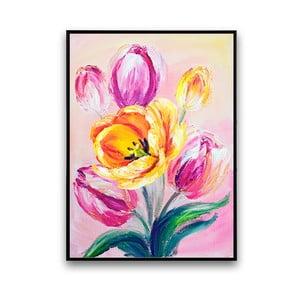 Plakat z tulipanami, różowe tło, 30 x 40 cm