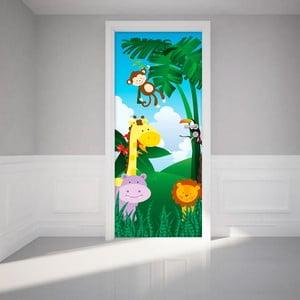 Naklejka   elektrostatyczna na drzwi Ambiance Jungle Animals