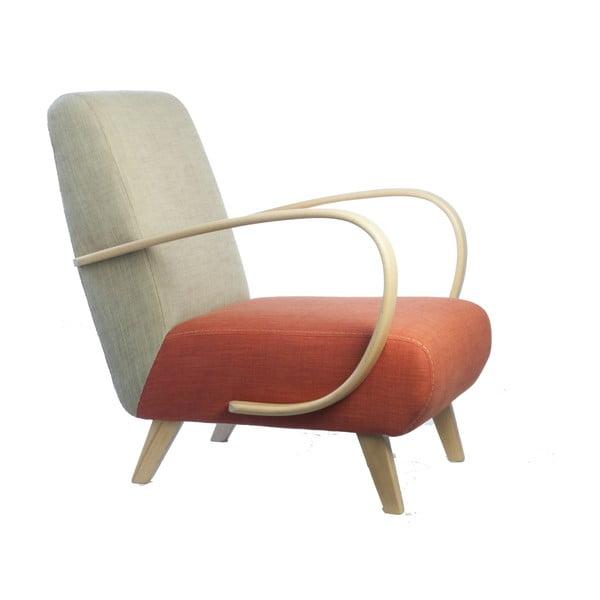 Fotel retro Kamila Velínská, Grapefruit/Cappucino