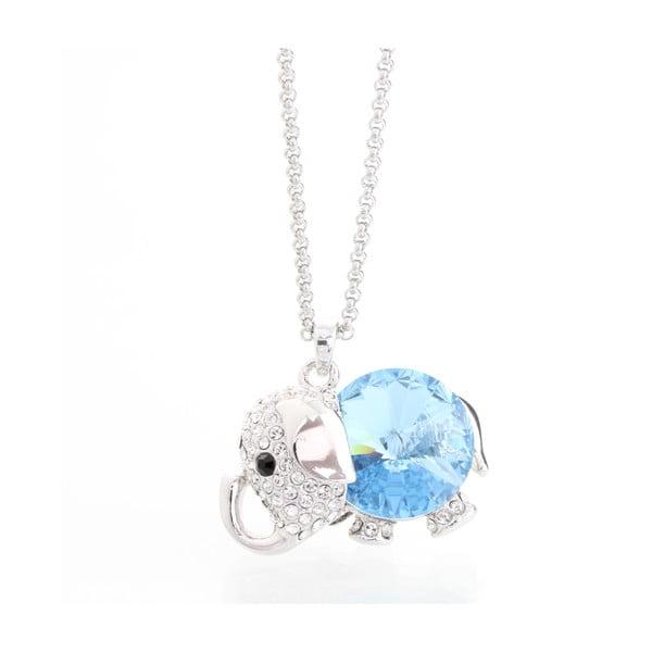 Naszyjnik ze Swarovski Elements, niebieski słonik