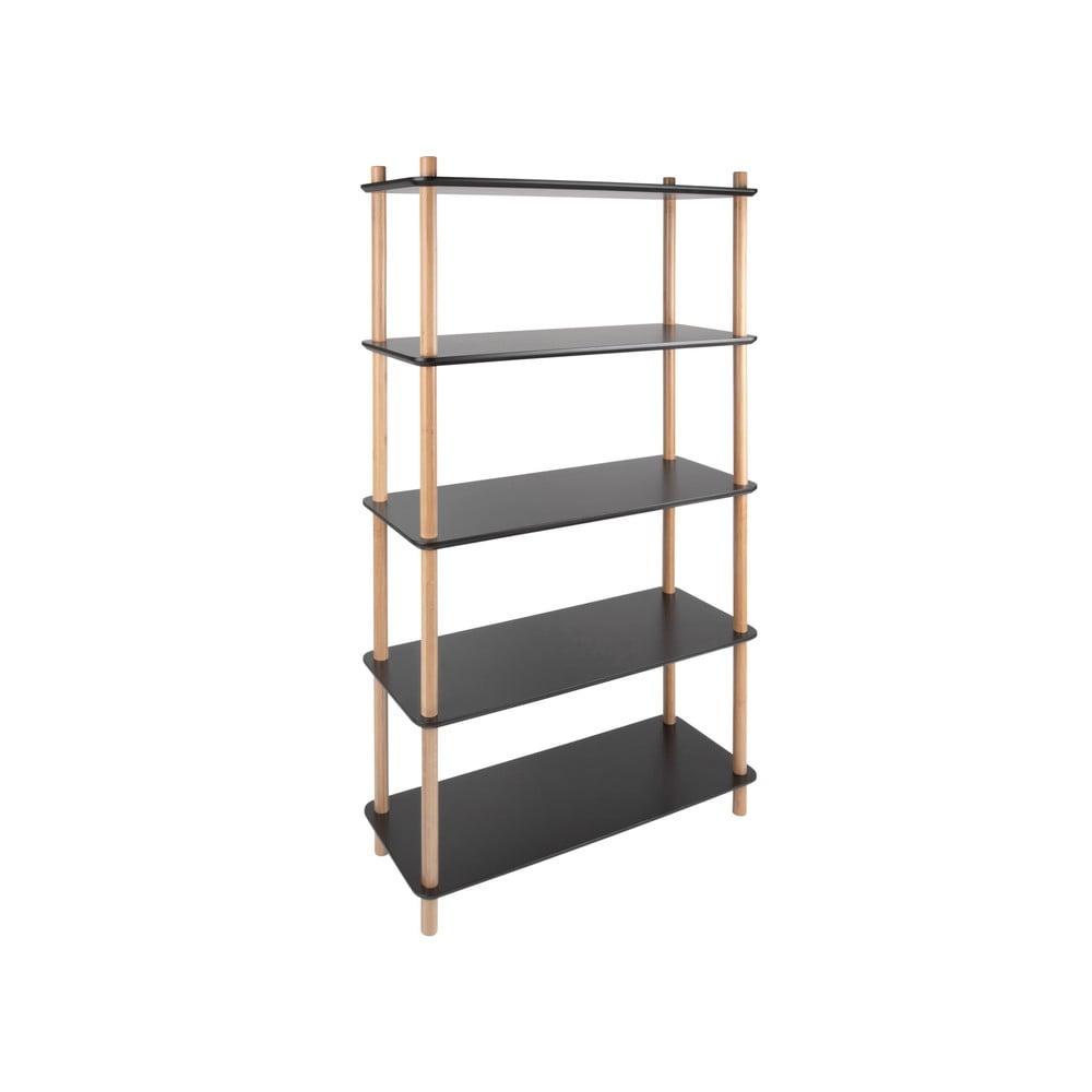 Czarny regał z bambusowymi nogami Leitmotiv Cabinet Simplicity