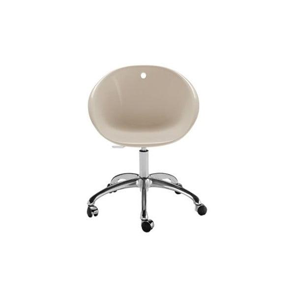 Beżowe krzesło na kółkach Pedrali Gliss