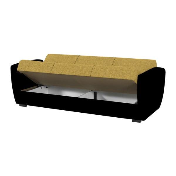 Żółto-czarna trzyosobowa sofa rozkładana ze schowkiem Esidra Comfort