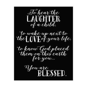 Plakat w drewnianej ramie Laughter, 38x28 cm