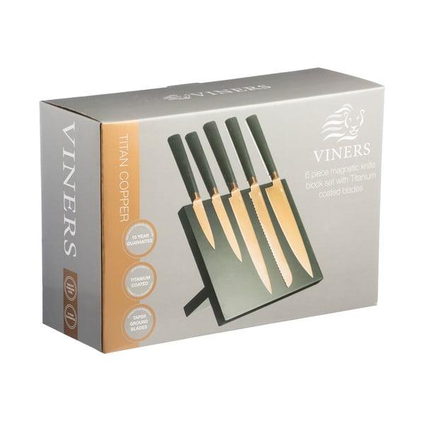 Zestaw   5 noży na stojaku Titan Copper