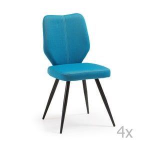 Zestaw 4 niebieskich krzeseł La Forma Tina