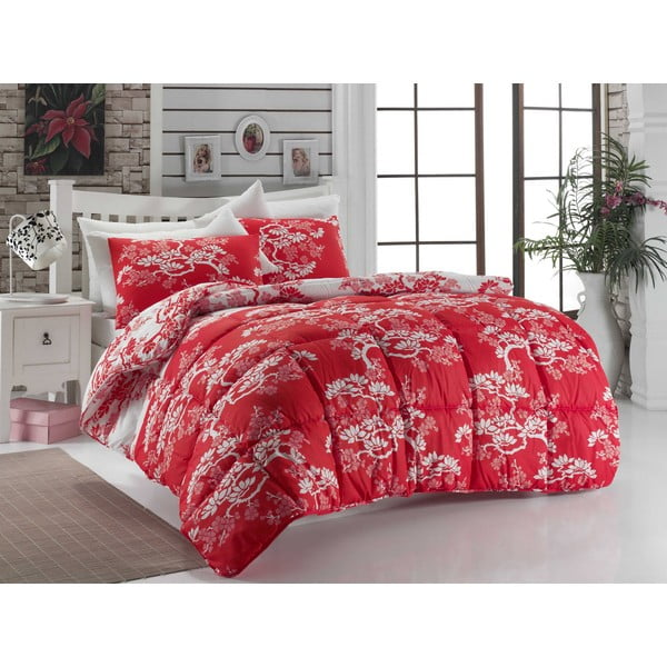 Narzuta pikowana na łóżko dwuosobowe Bonsai Red, 195x215 cm