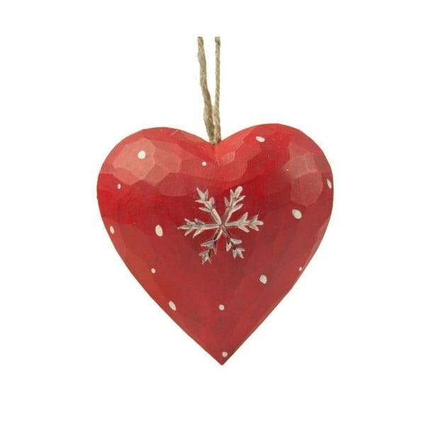 Dekoracja wisząca Antic Line Heart with snowflake in red