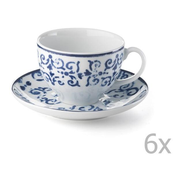 Zestaw 6 porcelanowych filiżanek Antico Blue, 200 ml