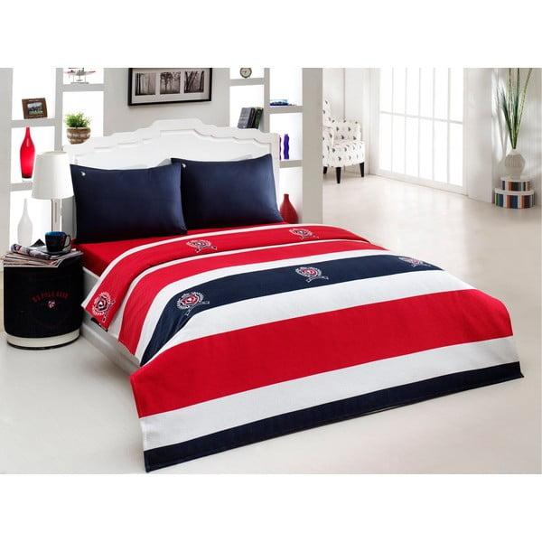 Narzuta, poszewki na poduszkę i prześcieradło US Polo 200x220 cm, czerwień, granat, biel