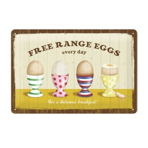 Blaszana tablica Free range eggs, 20x30 cm