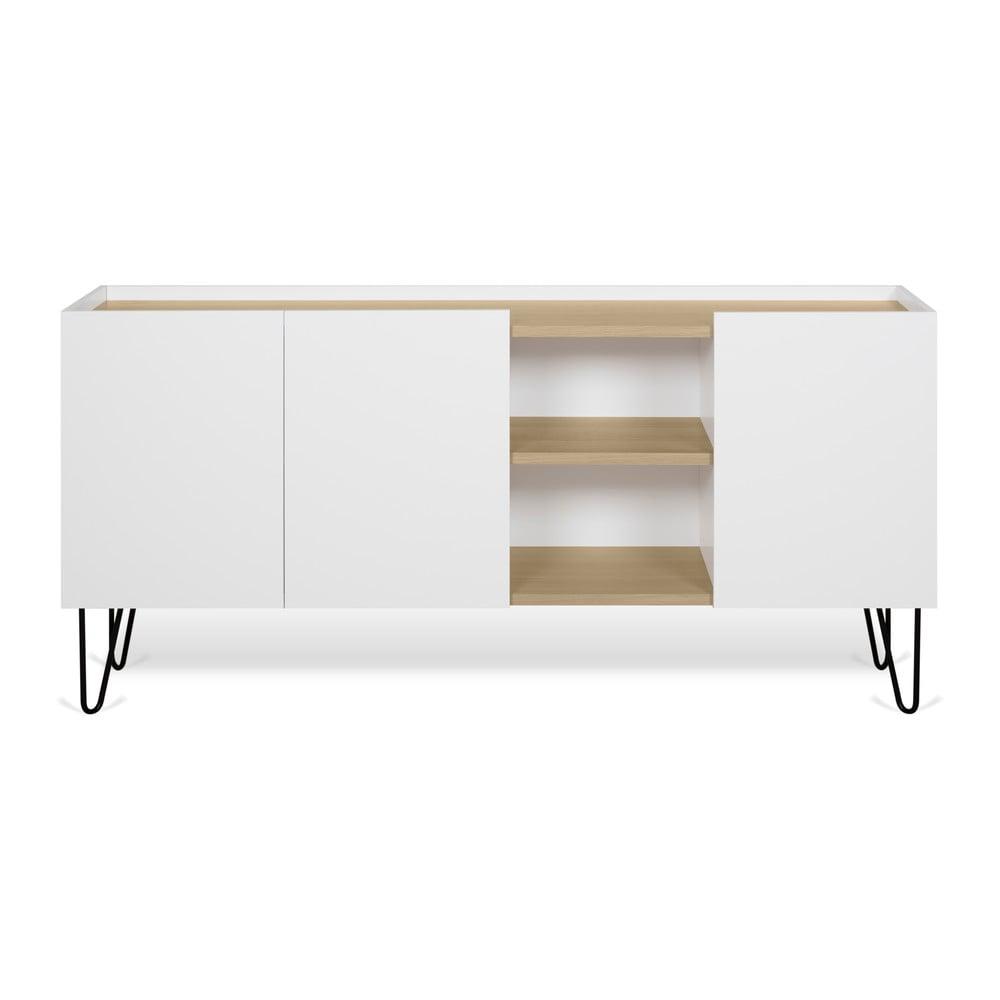 Biała komoda z 3 półkami i 3 drzwiczkami TemaHome Nina, 180x83 cm