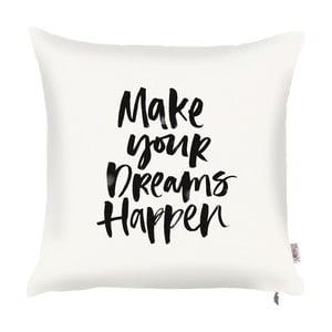 Biała poszewka na poduszkę z dekorem w czarnej barwie Apolena Dreams, 43x43 cm