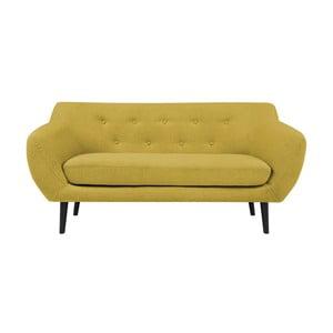 Żółta sofa 2-osobowa z brązowymi nogami Mazzini Sofas Piemont