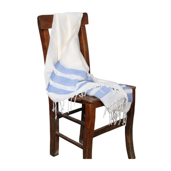 Niebieski ręcznik hammam Mimoza Blue, 90x190cm