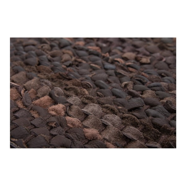 Ciemnobrązowy skórzany dywan Rajpur, 120x180cm