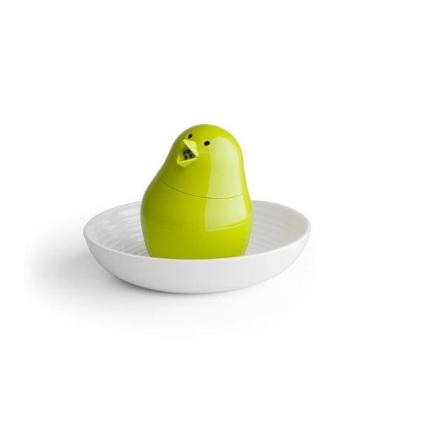 Biało-zielona solniczka z talerzykiem na jajko QUALY Jib-Jib Shaker
