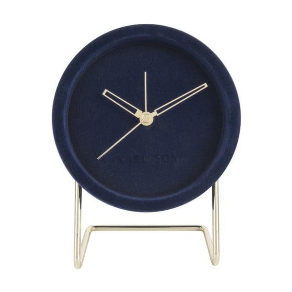 Granatowy zegar stołowy z aksamitem Karlsson Lush