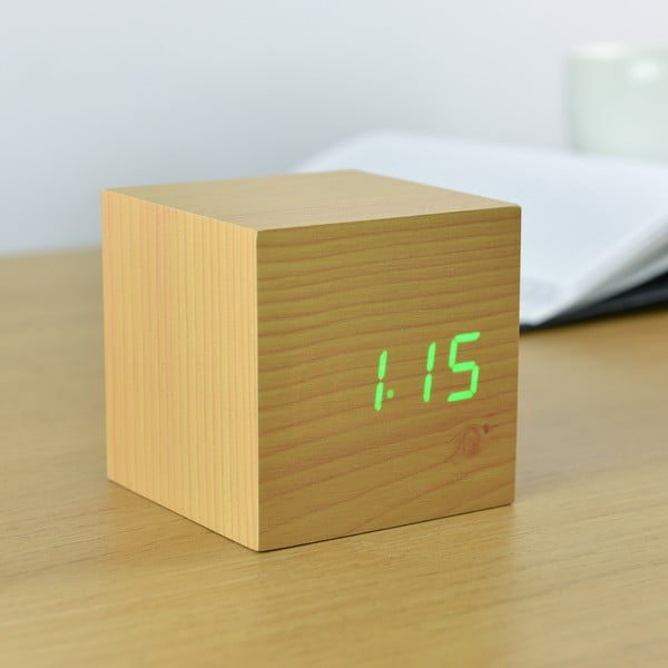 Jasnobrązowy budzik z zielonym wyświetlaczem LED Gingko Cube Click Clock