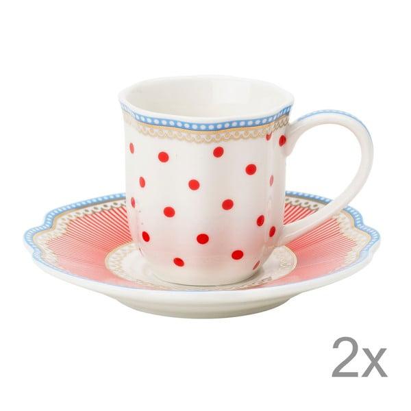 Porcelanowa filiżanka na espresso ze spodkiem Happy Dot Lisbeth Dahl, 2 szt.