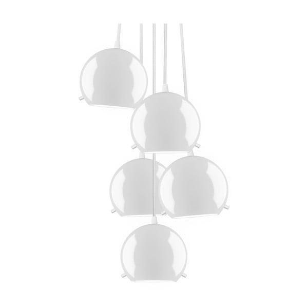 Biała błyszcząca pięcioczęściowa lampa wisząca Sotto Luce MYOO Elementary 5BS