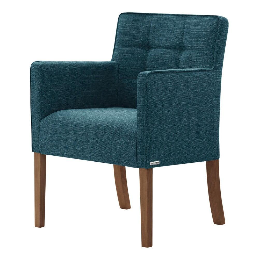 Turkusowe krzesło z ciemnobrązowymi nogami Ted Lapidus Maison Freesia