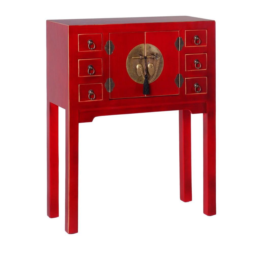 Czerwona konsola z 6 szufladami ixia east bonami for Ixia muebles