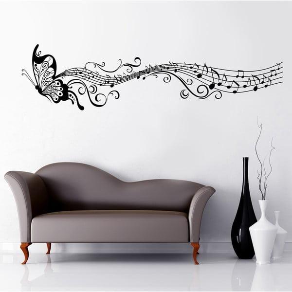 Naklejka na ścianę Motyl i nuty, 60x90 cm