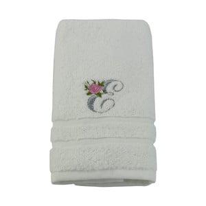 Ręcznik z inicjałem i różyczką E, 50x90 cm