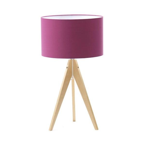 Fioletowa lampa stołowa Artist, brzoza, Ø 33 cm