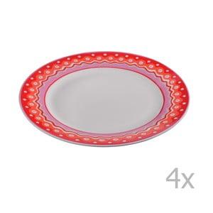 Komplet 4 porcelanowych talerzyków deserowych Oilily 19 cm, czerwony