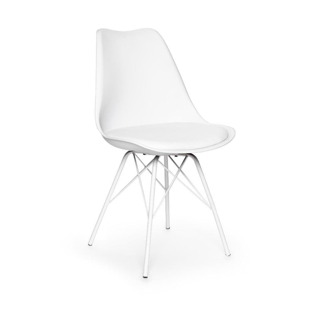 Zestaw 2 białych krzeseł z białą konstrukcją z metalu loomi.design Eco