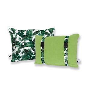 Zielona dwustronna poduszka plażowa Origama Leaf