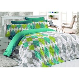 Narzuta i poszewki na poduszkę Fresh Turquoise, 220x230 cm