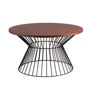 Czarny stolik z blatem w dekorze drewna orzechowego sømcasa Hugo