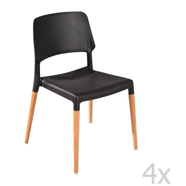 Zestaw 4 krzeseł do jadalni Molde Black