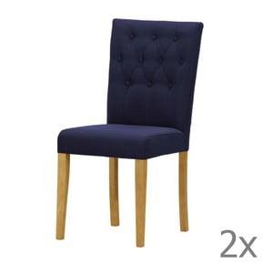 Komplet 2 krzeseł Monako Etna Dark Blue, naturalne nóżki