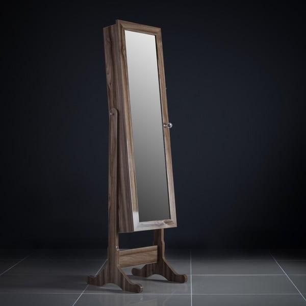 Zamykane lustro stojące ze schowkiem Isabella, wiśniowe