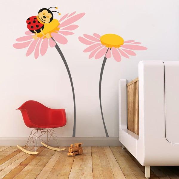 Naklejka ścienna Biedronka na kwiatku, różowa, 2 arkusze, 70x50 cm