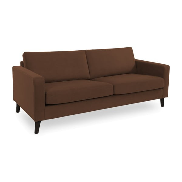 Brązowa sofa 3-osobowa z czarnymi nogami Vivonita Tom