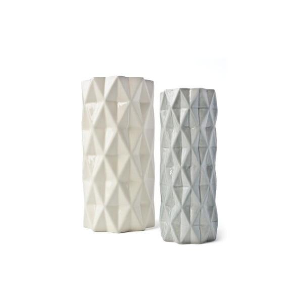 Biało-szary wazon Hawke&Thorn, wys. 22 cm