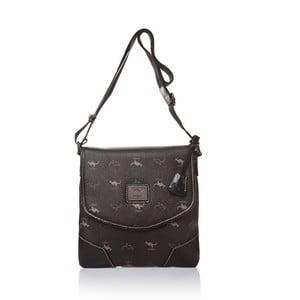 Skórzana torebka na długim pasku Canguru Louis, czarna