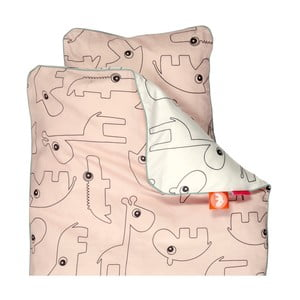 Różowa pościel dziecięca Done by Deer Contour, 100x130 cm