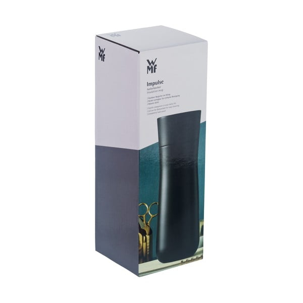 Nierdzewny termokubek w czarnym kolorze WMF Cromargan® Impulse